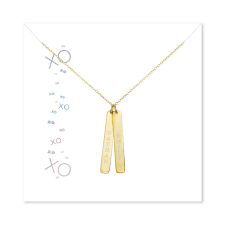 XOXO Custom 2 Vertical Name Bar Gold Plated Necklace