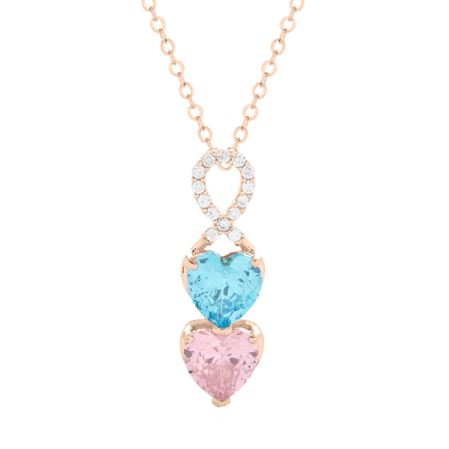 2 Stone Rose Gold Infinity Heart Drop Birthstone Necklace