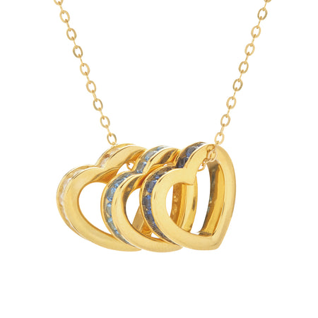 Personalized Stackable Birthstone Gold Eternity Heart Charm Necklace