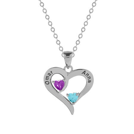 display slide 1 of 4 - 2 Stone Engravable Silver Heart Birthstone Pendant - selected slide