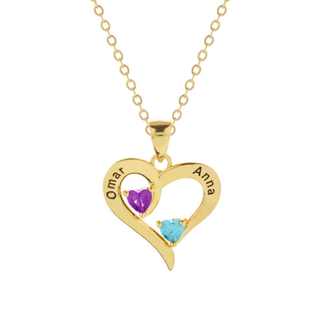 2 Stone Engravable Gold Heart Birthstone Pendant