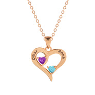 2 Stone Engravable Rose Gold Heart Birthstone Pendant
