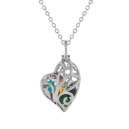 Caged Silver Birthstone Heart Necklace