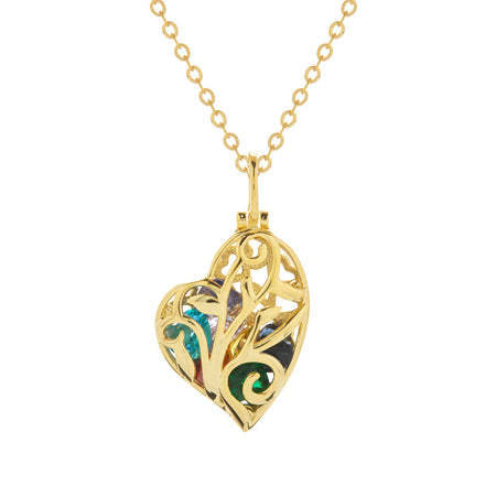 Caged Gold Birthstone Heart Necklace