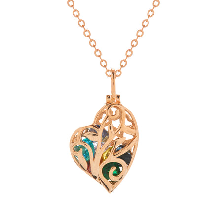 Caged Rose Gold Birthstone Heart Necklace