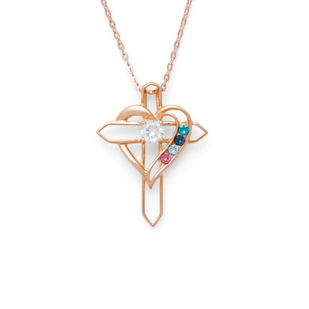 4 Birthstone Heart and Cross Rose Gold Necklace