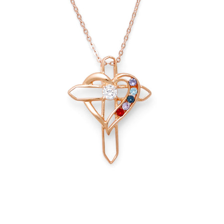 5 Birthstone Heart and Cross Rose Gold Necklace