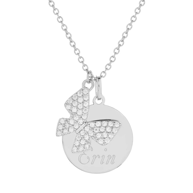 Sterling Silver Engravable Disc with CZ Butterfly Pendant