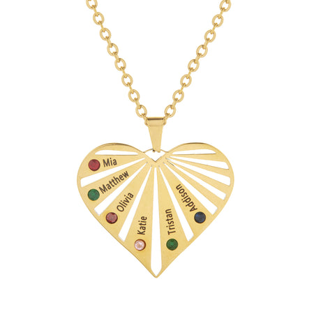 6 Stone Gold Plate Stainless Steel Engravable Birthstone Heart Pendant