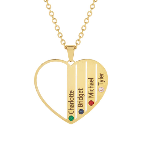 4 Stone Gold Plate Stainless Steel  Engravable Birthstone Open Heart Pendant