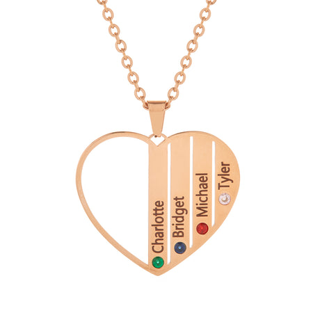 4 Stone Rose Gold Plate Stainless Steel Engravable Birthstone Open Heart Pendant