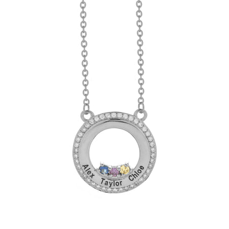 3 Stone Engravable Sterling Silver CZ Circle Birthstone Necklace