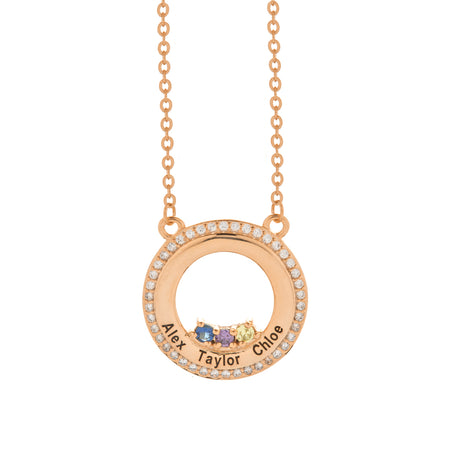 3 Stone Engravable Rose Gold CZ Circle Birthstone Necklace
