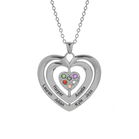 6 Stone Engravable Sterling Silver Birthstone Family Heart Necklace