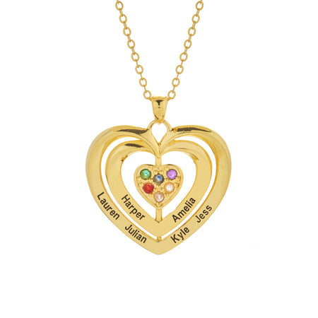 6 Stone Engravable Gold Birthstone Family Heart Necklace
