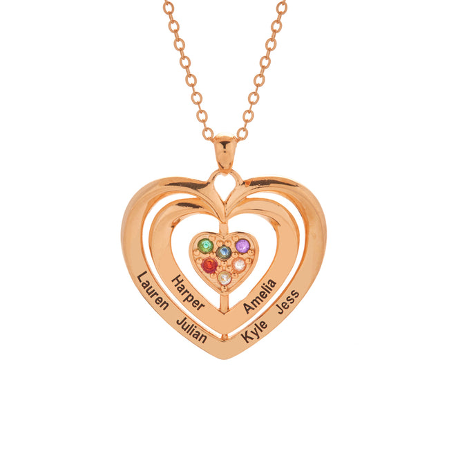 6 Stone Engravable Rose Gold Birthstone Family Heart Necklace