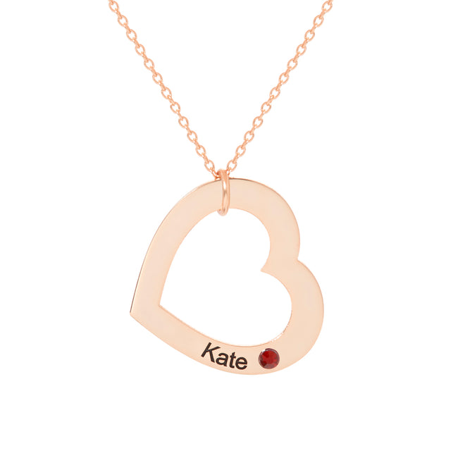 Engravable Rose Gold Family Heart Birthstone Necklace