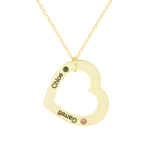 Engravable 2 Name Gold Family Heart Birthstone Necklace