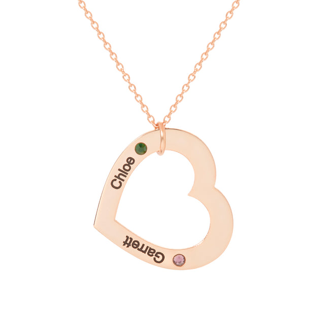 Engravable 2 Name Rose Gold Family Heart Birthstone Necklace
