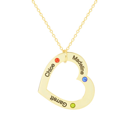 Engravable 3 Name Gold Family Heart Birthstone Necklace