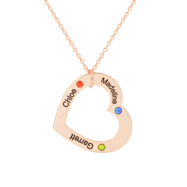 Engravable 3 Name Rose Gold Family Heart Birthstone Necklace