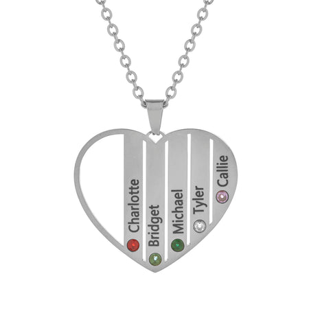 5 Stone Stainless Steel Engravable Birthstone Open Heart Pendant