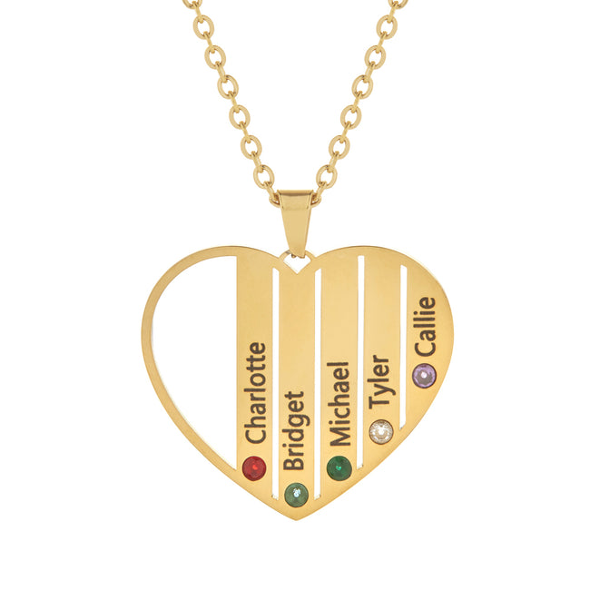 5 Stone Gold Plate Stainless Steel  Engravable Birthstone Open Heart Pendant