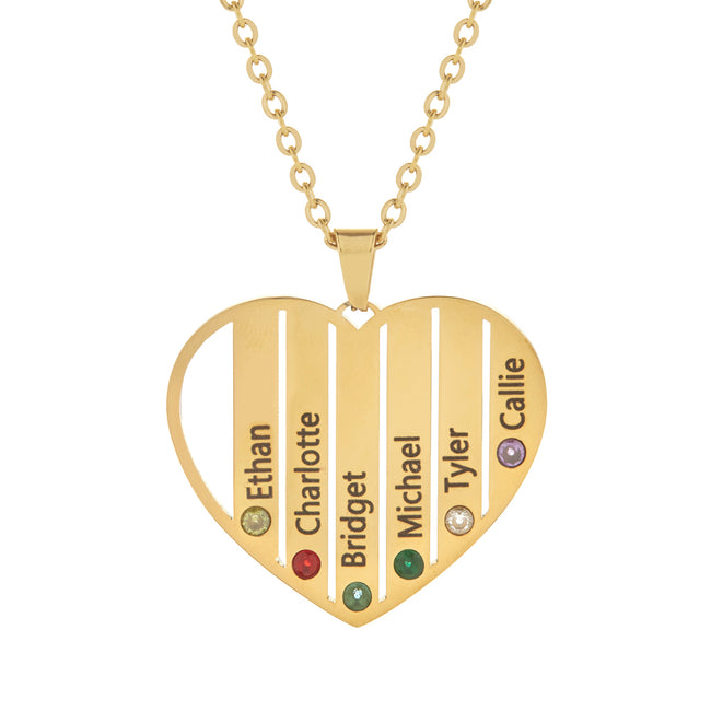 6 Stone Gold Plate Stainless Steel  Engravable Birthstone Open Heart Pendant