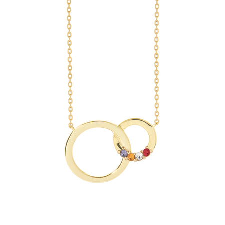 display slide 1 of 5 - 4 Stone Gold Interlocking Circle Eternity Birthstone Necklace - selected slide