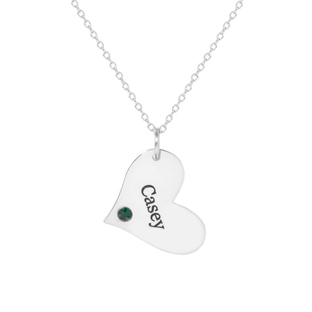 Engravable Heart Charm Birthstone Necklace
