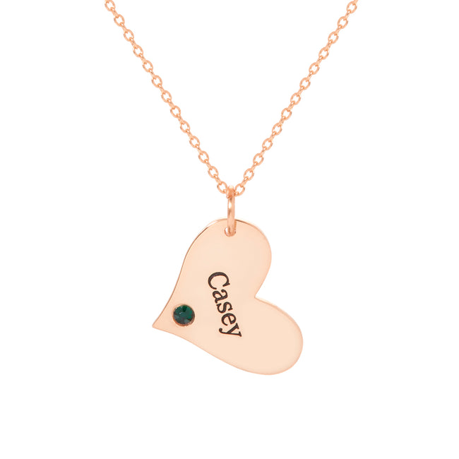 Engravable Rose Gold Heart Charm Birthstone Necklace