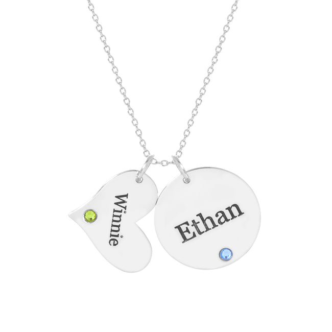 Engravable Heart and Circle Charm Birthstone Necklace