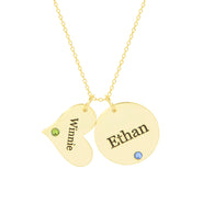 Engravable Gold Heart and Circle Charm Birthstone Necklace