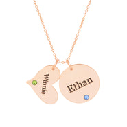 Engravable Rose Gold Heart and Circle Charm Birthstone Necklace