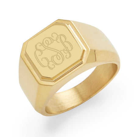 Men's Gold Plated Stainless Steel Square Signet Ring