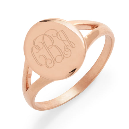 Split Band Rose Gold Plated Stainless Steel Oval Signet Ring