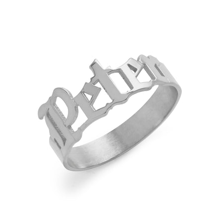 Men's Gothic Silver Name Ring