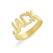 Men's Modern Block Gold Name Ring