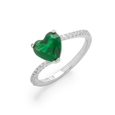 display slide 1 of 4 - Custom Asymmetrical Heart Birthstone Ring - selected slide