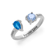 2 Stone Engravable Sterling Silver Birthstone Ring