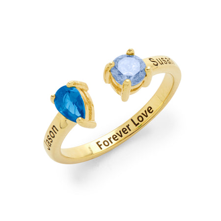 display slide 1 of 5 - 2 Stone Engravable Gold Plated Sterling Silver Birthstone Ring - selected slide