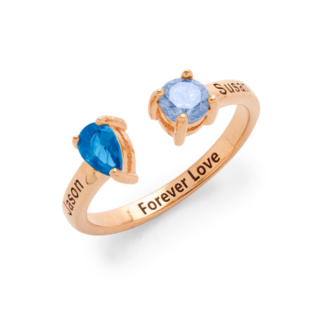 2 Stone Engravable Rose Gold Plated Sterling Silver Birthstone Ring