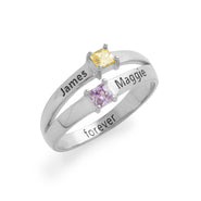 2 Square Stone Engravable Sterling Silver Birthstone Promise Ring