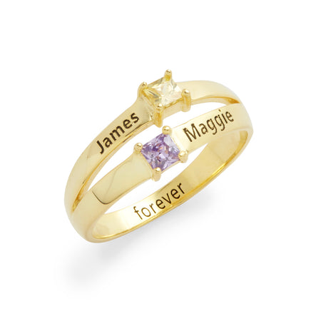2 Square Stone Engravable Gold Plated Sterling Silver Birthstone Promise Ring