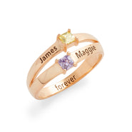 2 Square Stone Engravable Rose Gold Plated Sterling Silver Birthstone Promise Ring