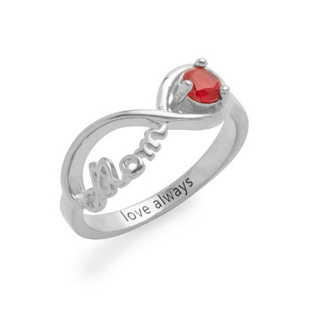 Engravable Sterling Silver Mom Birthstone Ring