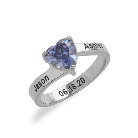 Engravable Sterling Silver Heart Birthstone Ring