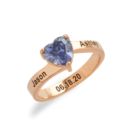 Engravable Rose Gold Plated Heart Birthstone Ring