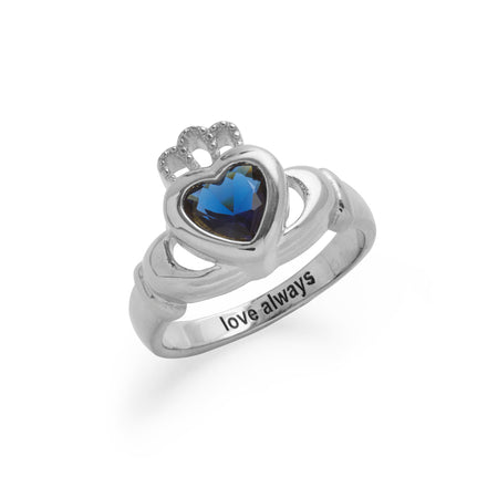 display slide 1 of 3 - Engravable Sterling Silver Claddagh Birthstone Ring - selected slide