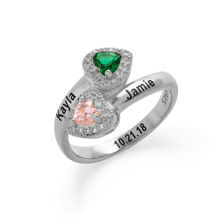 2 Stone Engravable Sterling Silver CZ Heart Birthstone Wrap Ring